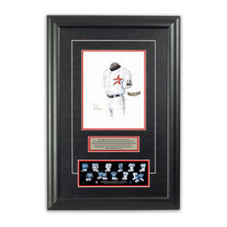 "Heritage Sports Art - Original art of the MLB 2000 Houston Astros uniform - This beautifully framed piece features an original piece of watercolor artwork glass-framed in an attractive two inch wide black resin frame with a double mat. The outer dimensions of the framed piece are approximately 17"" wide x 24.5"" high, although the exact size will vary according to the size of the original piece of art. At the core of the framed piece is the actual piece of original artwork as painted by the artist on textured 100% rag, water-marked watercolor paper. In many cases the original artwork has handwritten notes in pencil from the artist. Simply put, this is beautiful, one-of-a-kind artwork. The outer mat is a rich textured black acid-free mat with a decorative inset white v-groove, while the inner mat is a complimentary colored acid-free mat reflecting one of the team's primary colors. The image of this framed piece shows the mat color that we use (Red). Beneath the artwork is a silver plate with black text describing the original artwork. The text for this piece will read: This original, one-of-a-kind watercolor painting of the 2000 Houston Astros uniform is the original artwork that was used in the creation of this Houston Astros uniform evolution print and tens of thousands of other Houston Astros products that have been sold across North America. This original piece of art was painted by artist Nola McConnan for Maple Leaf Productions Ltd. Beneath the silver plate is a 3"" x 9"" reproduction of a well known, best-selling print that celebrates the history of the team. The print beautifully illustrates the chronological evolution of the team's uniform and shows you how the original art was used in the creation of this print. If you look closely, you will see that the print features the actual artwork being offered for sale. The piece is framed with an extremely high quality framing glass. We have used this glass style for many years with excellent results. We package every piece very carefully in a double layer of bubble wrap and a rigid double-wall cardboard package to avoid breakage at any point during the shipping process, but if damage does occur, we will gladly repair, replace or refund. Please note that all of our products come with a 90 day 100% satisfaction guarantee. Each framed piece also comes with a two page letter signed by Scott Sillcox describing the history behind the art. If there was an extra-special story about your piece of art, that story will be included in the letter. When you receive your framed piece, you should find the letter lightly attached to the front of the framed piece. If you have any questions, at any time, about the actual artwork or about any of the artist's handwritten notes on the artwork, I would love to tell you about them. After placing your order, please click the ""Contact Seller"" button to message me and I will tell you everything I can about your original piece of art. The artists and I spent well over ten years of our lives creating these pieces of original artwork, and in many cases there are stories I can tell you about your actual piece of artwork that might add an extra element of interest in your one-of-a-kind purchase."