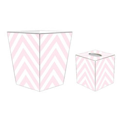 "Marye Kelley - Marye Kelley Light Pink Chevron Decoupage Wastebasket with Optional Tissue Box, - This is a handmade decoupage wastebasket with optional tissue box.  All items are handmade in the USA.  There are three different styles available.  There is the 12"" Fluted Tin Design, the 11"" Square Design with a flat top or the 11"" Square design with a scalloped top.  Coordinating tissue boxes may also be made. Please note all items are custom made and may not be returned."
