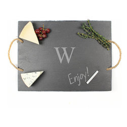 Frontgate - Personalized Gray Serving Board - Slate serving board has food safe finish. Features hemp rope handles. Includes soapstone chalk for easy labeling and free personalization. Due to its organic nature, slate may contain slight variations. Hand wash. Our Personalized Slate Serving Board makes for a beautiful display, especially after labeling gourmet foods with the included soapstone chalk. Both practical and decorative, the serving tray is finished with hemp handles and custom personalization with a single block initial.  .  .  .  .  . May be engraved with a single block initial . Please note: Personalized items are nonreturnable.