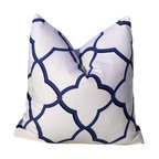 PillowFever - Cotton Pillow Cover in Geometric Blue and White Print - Pillow insert is not included!
