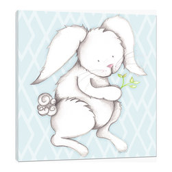 "Doodlefish - Bonny Bunny Blue - Bonny Bunny is an 18"" x 18"" Gallery Wrapped Giclee Print that is a mix of graphical elements and a drawing of a precious little bunny with a cottontail and long whiskers.  Choose the background color and the background pattern to match your child's room,  Add your child's name or even your favorite pet.  This artwork is also available mounted in a painted frame of your choice.    The finished size of the mounted piece is approximately 22""x22""."