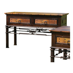 Artisan Home Furniture - Artisan Home Valencia Console Table with Copper Top and Iron Base - The firing gives the copper its many variations and makes each top a work of art. No two tops will match, but are finished to blend together. Lacquer finish gives protection and depth to the wood. Storage tables are an extra value. Completes the unique old world look.