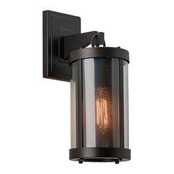 """Feiss - Feiss Bluffton 16"""" High Bronze Outdoor Wall Light - A single bulb illuminates the distinctive perforated diffuser of this bronze and glass outdoor wall light. This handsome oil rubbed bronze outdoor wall sconce is created in the trendy Mountain Luxe style, a modern update to rustic designs. The ribbed-look, cylinder wall fixture on a square backplate features a single bulb behind clear glass and a perforated diffuser that represents a classic fireplace screen. Upgrade your decor with this beautiful Feiss lighting accent."""