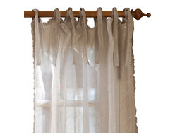 "Taylor Linens - Ruffle Natural Linen Curtain Panel, 42""x 96"" - Sheer linen edged with a 1/2-inch ruffle makes a sweet and simple curtain panel for your vintage country decor, adding just a touch of light-filtering softness. The old-fashioned cloth ties at the top let your curtain rod show, adding to the casual cottage look."