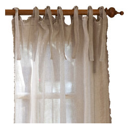 """Taylor Linens - Ruffle Natural Linen Curtain Panel, 42""""x 96"""" - Sheer linen edged with a 1/2-inch ruffle makes a sweet and simple curtain panel for your vintage country decor, adding just a touch of light-filtering softness. The old-fashioned cloth ties at the top let your curtain rod show, adding to the casual cottage look."""