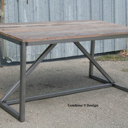 Modern Dining Table/Desk made of Reclaimed Wood and Steel. Mid Century. -