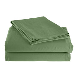 300 Thread Count California King Sheet Set Bamboo Solid - Sage - As soft as silk and as durable as cotton, these bamboo derived sheets are at the meeting point of style, comfort and durability. Made from 100% Bamboo derived Rayon, this set of sheets allows your body to breathe in the summer while keeping you warm in the winter. Set includes One Flat Sheet 111x105, One Fitted Sheet 74x86, and Two Pillowcases 21x42 each.