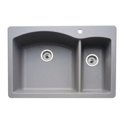 "Blanco - Blanco 440198 Metallic Gray Diamond Diamond Double Basin Silgranit II - Product Features:  Sink is covered under Blanco s limited lifetime warranty Premier finishing process - will resist staining, chipping and scratching through every day use Double basin sink with a 70/30 split provides increased versatility for any task Blanco sinks feature extremely hygienic, non-porous surfaces Constructed of Blanco s SILGRANIT II material - making it durable and fade resistant Installs in a drop-in or undermount configuration - providing a sturdy mount and integrated look Rear drain location increases workspace are in the sink as well as storage space underneath Required clips for undermount installation type are not included - when adding sink to cart these will be presented as an option for purchase  Product Benefits:  SILGRANIT II: Crafted of 80% natural granite, this composite features the look and feel of natural stone and resists scratches, stains, chips and heat. Colored all the way through SILGRANIT II will not fade in direct sunlight and is impervious to household acids and alkalis. Advanced surface technologies ensure that it will be non-porous, easy to clean and an extremely hygienic workspace.  Product Specifications:  Overall Height: 9-1/2"" (measured from the bottom of sink to the top of the rim) Overall Width: 22"" (measured from the back outer rim to the front outer rim) Overall Length: 33"" (measured from the left outer rim to the right outer rim) Basin Width (Left): 18-3/5"" (measured from back to inner rim to front inner rim on left bowl) Basin Length (Left): 20"" (measured from left inner rim to right inner rim on left bowl) Basin Depth (Left): 9-1/2"" (measured from the center of basin to the rim on left bowl) Basin Width (Right): 16-4/5"" (measured from the back in"