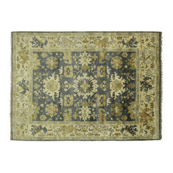Manhattan Rugs - New Veg Dye Blue Floral Turkish Oushak 9x12 Hand Knotted Oriental Wool Rug H3833 - Oushak rugs originated in the small town of Oushak in west central Anatolia, roughly 100 miles south of the city of Istanbul in Turkey. Oushak has produced some of the most decorative Persian influenced rugs of all times. Oushak has been a production center of Turkish rugs since the 15th century. In the late 15th century the 'design revolution' took place. Before, producing carpets was part of the nomad culture, meeting people's daily needs, but for the first time the works of designing and weaving rugs were split in two. These Turkish rugs began to be produced commercially. From the 16th up to the 18th century the most famous manufacturers of ottoman times worked in Oushak. A special heirloom wash produces the subtle color variations that give rugs their distinctive antique look.