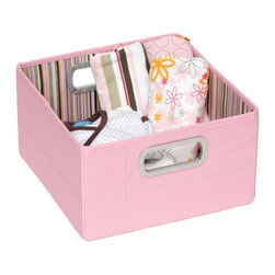 """JJ Cole - JJ Cole Storage Box Pink Stripe - Fashion and function go hand in hand with JJ Cole's high-quality baby gear collection. Simple and stylish, this storage box provides convenient organization options to a bedroom or nursery. Featuring two metal side handles, this collapsible pink container offers a spacious yellow, pink, green, brown and cream striped interior for holding toys, diapers and more. Available in two sizes. Made from polyester canvas. Spot clean only. Short box: 11""""W x 11""""D x 6.5""""H Tall box: 11""""W x 11""""D x 11""""H"""