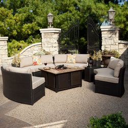 Meridian All Weather Wicker Conversation Set with Granite Fire Pit and Sunbrella - Even if someone invented a fifth season, it would still be the perfect time of year to gather around the Meridian Classic All Weather Wicker Conversation Set with Granite Fire Pit. At the center of this set is a 40,000 BTU gas firepit with a porcelain-coated steel firebowl surrounded by a solid granite top. Removable wicker panels let you access the propane tank that sits on a pull-out shelf, and a hidden panel gives you access to simple, automatic ignition. Around the fire pit you'll be relaxing on four curved benches made of resin wicker over a rust-proof aluminum frame. Resin wicker has all the appearances of traditional wicker, but with a polymer composition that will resist moisture, weather and aging.