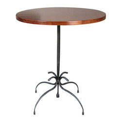 """Form & Reform - Vera Table - 30"""" tall - Take your pick of three sizes for this polished table made from sustainable hardwood with a cherry finish. It will work in your living room, foyer or living room. Its artfully curved legs and base are fashioned from hammered, hand-forged, natural-antiqued steel."""