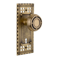 Nostalgic Warehouse - Nostalgic Craftsman Plate with Mission Knob and Keyhole in Antique Brass - Inspired by the American Arts & Crafts movement of the early 1900s, the rugged design and hand-hammered details of the Craftsman Long Plate in antique brass emphasizes handwork over mass production. Pair this with our Mission knob and its inlaid step design, to create a truly unique look. All Mission knobs are forged brass for durability and beauty.