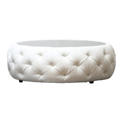 Abbyson Living - Furrinno Round Leather Coffee Table - Constructed of solid wood, glass and leather, this coffee table is unlike any other. With its graceful round shape and luxuriously tufted upholstery, here's furniture that provides exquisite designer flair that always impresses. This well-built accent piece is beautiful as well as functional.