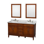 """Wyndham Collection - Hatton 60"""" Light Chestnut Double Vanity w/ White Carrera Marble Top & Oval Sink - Bring a feeling of texture and depth to your bath with the gorgeous Hatton vanity series - hand finished in warm shades of Dark or Light Chestnut, with brushed chrome or optional antique bronze accents. A contemporary classic for the most discerning of customers. Available in multiple sizes and finishes."""