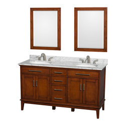 "Wyndham Collection - Hatton 60"" Light Chestnut Double Vanity w/ White Carrera Marble Top & Oval Sink - Bring a feeling of texture and depth to your bath with the gorgeous Hatton vanity series - hand finished in warm shades of Dark or Light Chestnut, with brushed chrome or optional antique bronze accents. A contemporary classic for the most discerning of customers. Available in multiple sizes and finishes."