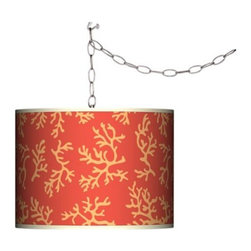 Tangerine Coral Swag Style Plug-In Chandelier - The tangerine and coral on this hanging lamp are reminiscent of the beach theme I love.