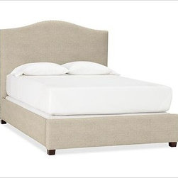 """Raleigh Nailhead Camelback Bed, Queen, Linen Oatmeal - Crafted by our own master upholsterers in the heart of North Carolina, our upholstered bed and headboard is available in a graceful camelback silhouette. Crafted with a kiln-dried hardwood frame. Headboard, footrail and siderails are thickly padded and tightly upholstered with your choice of fabric. Nailhead detail trims the outer edges of the headboard. Exposed block feet have a hand-applied espresso finish. Headboard also available separately. The headboard-only option is guaranteed to fit with our PB metal bedframe using the headboard hardware. Bed is designed for use with a box spring and mattress. This is a special-order item and ships directly from the manufacturer. To see fabrics available for Quick Ship and to view our order and return policy, click on the Shipping Info tab above. This item can also be customized with your choice of over {{link path='pages/popups/fab_leather_popup.html' class='popup' width='720' height='800'}}80 custom fabrics and colors{{/link}}. For details and pricing on custom fabrics, please call us at 1.800.840.3658 or click Live Help. View and compare with other collections at {{link path='pages/popups/bedroom_DOC.html' class='popup' width='720' height='800'}}Bedroom Furniture Facts{{/link}}. Crafted in the USA. Full: 57.5"""" wide x 83.5"""" long x 59"""" high Queen: 64.5"""" wide x 88.5"""" long x 59"""" high King: 80.5"""" wide x 88.5"""" long x 59"""" high Cal. King: 74.5"""" wide x 92.5"""" long x 59"""" high Full: 57.5"""" wide x 4.5"""" thick x 59"""" high Queen: 64.5"""" wide x 4.5"""" thick x 59"""" high King: 80.5"""" wide x 4.5"""" thick x 59"""" high Cal. King: 74.5"""" wide x 4.5"""" thick x 59"""" high"""