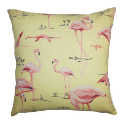 "The Pillow Collection - Qusay Animal Print Pillow Yellow Pink 18"" x 18"" - Stylize your living space with this beautiful and vibrant accent pillow. An interesting animal print pattern is highlighted in this square pillow. Bright colors like pink and yellow are featured in this 18"" pillow. Ideal for indoor use, this throw pillow is made from a blend of 95% cotton and 5% linen fabric. Mix and match solids and other patterned pillows for a contemporary twist. Hidden zipper closure for easy cover removal.  Knife edge finish on all four sides.  Reversible pillow with the same fabric on the back side.  Spot cleaning suggested."