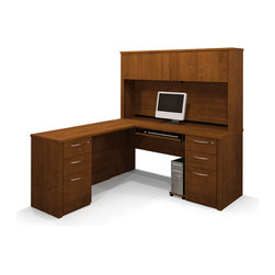 Bestar - Bestar Embassy Tuscany Brown 66 x 70 L-Shaped Workstation Desk - The work surface is made of a durable 1 inch commercial grade work surface with melamine finish that resist scratches stains and wears. It features an impact resistant 0.25 cm PVC edge and classic moldings. Grommets and a rubber strip are available on the station for efficient wire management. The hutch for credenza offers a large closed storage space. The opening has 11 3/4 high which is ideal for letter format binders. The doors are fitted with strong adjustable hinges. Both pedestals are assembled to reduce the time of assembly. Each pedestal offer two utility drawers and one file drawer with letter/legal filing system. One lock secures bottom two drawers. The drawers are on ball-bearing slides and the keyboard drawer features double-extension slides for a smooth and quiet operation. The workstation meets or exceeds ANSI/BIFMA performance standards and is fully reversible. Embassy offers numerous configuration possibilities for various uses. Offering smaller desks this collection is ideal for every type of workplace including the home office.Nowadays performance productivity and quality of life are fundamental to achieving our personal and professional goals. Bestar's home and office furniture design is based upon these criteria as well as on today's reality. On average we spend about 40 hours a week at work (home or office) which represents a large portion of our time. Various factors have a direct impact on our well-being at work: an important concern in the current employment environment continually changing and at an ever-increasing pace. Therefore organizing your space is certainly a parameter to consider. Features include Strong and large work surface Safe and high-quality furniture Plenty of room to organize your documents. Specifications Finish/color: Tuscany Brown.