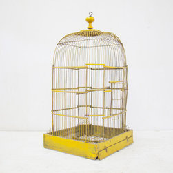 Beautiful French Yellow Antique Birdcage by The Parson's Pleasures - I think this beautiful yellow French birdcage would be a lovely way to add a touch of color and garden delight to a room!