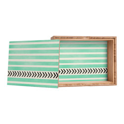 DENY Designs - Allyson Johnson Mint Stripes And Arrows Storage Box - Love yourself a knickknack or two (or three)? Well, then this is the box for you! The Amber Bamboo wooden Storage Box is available in two sizes with a printed exterior lid and interior bottom. So, you can still be a collector of sorts, but now you've got an organized home for it all. 100% sustainable, eco-friendly flat grain amber bamboo wood box with printed glossy exterior lid and interior bottom. Custom made in the USA for every order.