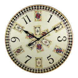 Playing Cards 23 Inch Diameter Wall Clock Poker - Made of fiberboard, this gorgeous 23 inch diameter battery powered wall clock features a playing card design on the face. The clock has a distressed look, with wear marks and printed paint cracks as part of the design. It runs on one AA battery (not included). This wall clock is BRAND NEW, never hung, and makes a great gift for poker fans or anyone who loves card games.