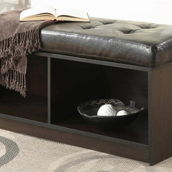 Convenience Concepts - Broad Moor Storage Ottoman - Two separate storage compartments below. Faux leather bench top cushion. Perfect complement to almost any room. Limited warranty. Made from PVC. Espresso color. No assembly required. 44 in. L x 16.5 in. W x 19 in. H (40 lbs.)Whether you use it in the entryway to welcome guests or want to sit down and enjoy a book. The Broad moor will be sure to provide years of service.