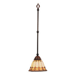ELK Lighting - ELK Lighting 648 Diamond Ring Single-Light Mini Pendant - This Forever Lasting Collection Fits Perfectly In Just About Every D�cor.The Diamond Ring Pattern Features Oven-Bent Panels In Hues Of Honey And Amber Which Are Enhanced By An Exquisite Blend Of Neutral Toned Stones And Finished In A Stately Burnished Copper.Specifications: