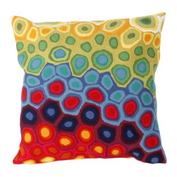 """Trans-Ocean Inc - Pop Swirl Multi 20"""" Square Indoor Outdoor Pillow - The highly detailed painterly effect is achieved by Liora Mannes patented Lamontage process which combines hand crafted art with cutting edge technology. These pillows are made with 100% polyester microfiber for an extra soft hand, and a 100% Polyester Insert. Liora Manne's pillows are suitable for Indoors or Outdoors, are antimicrobial, have a removable cover with a zipper closure for easy-care, and are handwashable.; Material: 100% Polyester; Primary Color: Red;  Secondary Colors: blue, green, orange, yellow; Pattern: Pop Swirl; Dimensions: 20 inches length x 20 inches width; Construction: Hand Made; Care Instructions: Hand wash with mild detergent. Air dry flat. Do not use a hard bristle brush."""