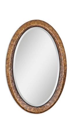 "Uttermost - Capiz Oval Vanity Mirror - Heavily antiqued dark capiz shell with metal rope details. Mirror has a generous 1 1/4"" bevel."