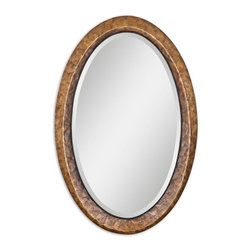 "Uttermost - Capiz Oval Vanity Mirror - Heavily antiqued dark capiz shell with metal rope details. Mirror has a generous 1 1/4"" bevel."