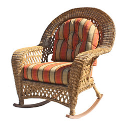 Wicker Paradise - Montauk Outdoor Wicker Rocker - Everyone loves an Outdoor wicker rocker and one that looks as good as our Montauk wicker rocker is a must have! The thick cushions and wide arms offer the comfort you deserve and it has that great traditional latticework detailing.