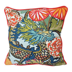 The Pillow Studio - Both Sides- Chiang Mai Dragon Pillow Cover With Red Piping - What is not to love about this pillow?