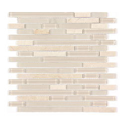 Stone & Co - Marble Mosaic Glass and Stone blend Random Strip 12 x 12 Mosaic Tile Mag-4440-ST - Finish: Polished / Shiny