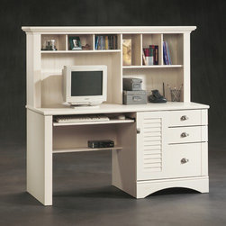 "Sauder - Harbor View 62.25"" Computer Desk with Hutch - Features: -Computer desk with hutch.-Slide-out keyboard / mouse shelf with metal runners and safety stops.-Lower drawer with full extension slides holds letter, legal or European size hanging files.-Storage area behind louver detailed door holds vertical CPU tower.-Hutch has cubbyhole storage and vertical storage compartments.-Enclosed storage, file drawers.-Bottom drawer with full-extension slides for hanging files.-Detailing includes bead board back panel.-Top quality medium-density construction.-Harbor View collection.-Distressed: Yes.-Collection: Harbor View.-Country of Manufacture: United States.-Desk Type: Computer desk with hutch.-Top Finish: Antiqued white.-Base Finish: Antiqued white.-Accent Finish: Antiqued white.-Powder Coated Finish: No.-Gloss Finish: No.-UV Finish: No.-Top Material : Engineered wood.-Base Material: Engineered wood.-Hardware Material: Metal.-Edge Detail: Molding on hutch.-Non-Toxic: Yes.-Water Resistant: No.-Stain Resistant: Yes.-Heat Resistant: Yes.-Style: Cottage.-Design: Rectangular.-Hardware Finish: Nickel.-Eco-Friendly: Yes.-Cable Management: Yes.-Keyboard Tray: Yes.-Height Adjustable: No.-Drawers Included: Yes -Number of Drawers: 3.-File Drawer: Yes.-Drawer Glide Material : Metal runners with safety stops.-Drawer Glide Extension: Full extension.-Safety Stop : Yes.-Soft-Close Drawer: Yes.-Locking Drawer: No.-Ball Bearing Glides: Yes.-Joinery Type : Twist lock fasteners.-Drawer Handle Design: Pull and knob..-Pencil Drawer: No.-Jewelry Tray: No.-Exterior Shelving : No.-Cabinets Included: Yes -Number of Cabinets: 1.-Soft-Close Cabinets: Yes.-Locking Cabinet: No..-Ergonomic Design: No.-Handedness: both.-Scratch Resistant: Yes.-Chair Included: No.-Legs Included: No.-Hutch Included: Yes.-Treadmill Included: No.-Cork Back Panel: No.-Modesty Panel : Yes -Modesty Panel Details: Half..-CPU Storage: Yes.-Built In Outlet: No.-Built In Surge Protector: No.-Light Included: No.-Finished Back: No.-Tipping Prevention: No.-Modular: No.-Lifestage: Teen-adult.-Application: Office desk.-Compatibility: Any item in Harbor View Collection Antiqued White.-Commercial Use: No.-Product Care: Wipe with damp cloth.-Weight Capacity: 75 lbs.-Swatch Available: Yes.-Recycled Content: Yes -Remanufactured/Refurbished : No..Specifications: -FSC Certified: Yes.-EPP Certified: Yes.-CARB Compliant: Yes.-ISTA 3A Certified: Yes.-Green Guard Certified: No.-ANSI BIFMA Certified: No.-SCS Certified: No.Dimensions: -Overall Product Weight: 205 lbs.-Overall Height - Top to Bottom: 57.36"".-Overall Width - Side to Side: 62.21"".-Overall Depth - Front to Back: 23.5"".-Desk Return: No.-Credenza: No.-Bridge: No.-Cabinet: Yes.-Drawer: Yes.-Shelving: Yes.-Seat: No.-Desktop Height: 29.88"".-Desktop Width - Side to Side: 62.25"".-Desktop Depth - Front to Back: 23.5"".-Knee Space Height: 25.75"".-Knee Space Width: 29.25"".-Knee Space Depth: 23.5"".-Hutch : -Hutch Height - Top to Bottom: 27.5"".-Hutch Width - Side to Side: 62.25"".-Hutch Depth - Front to Back: 11.5""..-Legs: No.Assembly: -Three drawers feature patented T-lock assembly system.-Quick and easy assembly with patent"
