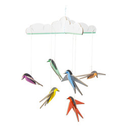 OOTS! - Pop-Out Cards: Lucky Swallows Mobile - A rainbow array of six little swallows will dazzle as they dangle above the lucky little one who receives it. This precious pop-out package, comprised of recycled cardboard and nylon thread, presents well as a gift with a mini note card and matching envelope. Rest assured, the joy it will bring to your loved ones is as precious as their bundle of joy.