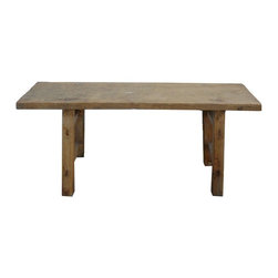 Golden Lotus - Rustic Raw Wood Chinese Village Sitting Bench - This is rustic bench made of raw natual wood. Simple and rough.
