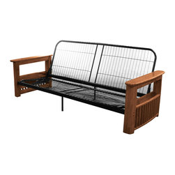 EpicFurnishings - Columbus Queen or Full-size Storage Arm Futon Frame - Serving as the perfect sofa during the day and bed at night,the Columbus provides enough space for a dinner plate,drinks,magazines,remotes,and more. Available in an array of wood finishes to fit any home decor.