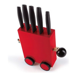 Magic Box Set of 5 Knives With Block, Red - Who does not know, the world-famous magic trick with the Sword Box. Typically assistant climbs into a box and apparently pierced by swords.