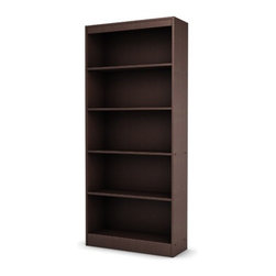 """South Shore - Axess Five Shelf Bookcase - Features: -Five shelf bookcase. -Axess collection. -Chocolate finish - black finish sold separately. -Manufactured from engineered wood products. -Ideal for your binders, books or decorative items. -This versatile bookcase can meet your every need. -Its warm finish and refined lines harmonize seamlessly with virtually any decor. -With both functional and attractive this bookcase is sure to enhance the look of any room in your home. -Shrink wrapped packaging with reinforced corners to reduce the risk of shipping damage. -Features a contemporary style. -Features 2 fixed shelves and 3 adjustable shelves. -South Shore Industries Ltd. provides the original buyer with a warranty covering """"defects"""" on furniture parts and workmanship for a period of 5 years from the date of purchase. -Assembly required. Protecting our Environment for Generations to Come! South Shore Furniture is proudly taking a stand on its environmental positioning and is supporting its words with very concrete actions and a vision for a healthy future. Current actions include: -Improved packaging  Our new packaging use 60% less non-biodegradable materials. -Energy efficiency  Yearly, 5 to 6 tons of wasted paneling are converted into energy used internally. -Environmentally Preferable Product (EPP) certification Already meeting the very strict 2009 California Formaldehyde Regulations. -Greener communication tools  Reduced format on recycled paper and conversion to electronic format.. -A Green Future in mind: a member of the Composite Panel Association whose mission is to work towards more ecological and environment-friendly panel solutions. -Overall Dimensions: 71"""" H x 31"""" W x 12"""" D."""