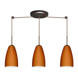 Besa Lighting - Besa Lighting 3JB-151180 Riva 3 Light Linear Pendant - The Riva 9 pendant features a softly radiused glass, that will gracefully blend into almost any decorating theme. Our Amber Matte glass is a caramel colored cased glass and opal inner layer. The orange glow has a low key harmonious display that exudes a warm mood. When lit the glass is vitalizing as well as stylish. The smooth satin finish on the outer layer is a result of an extensive etching process. This blown glass is handcrafted by a skilled artisan, utilizing century-old techniques passed down from generation to generation. The cord pendant fixture is equipped with three (3) 10' SVT cordsets and a 3-light linear canopy, two (2) suspension stemhooks included.Features: