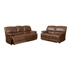 Global Furniture USA - U9963 Brown Bonded Leather Three Piece Sofa Set With Built-in Recliners - The U9963 sofa set has a traditional look with a modern design that works well in any decor. This sofa set comes upholstered in a stunning brown bonded leather in the front where your body touches. Carefully chosen match material is used on the back and sides where contact is minimal. High density foam is used within the cushions for added comfort. The sofa set features built-in recliners on each piece for that added touch of relaxation. The sofa set includes a sofa, and chair only.