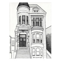 Victorian House Artwork - Pen and Ink drawing by Craig Baxter