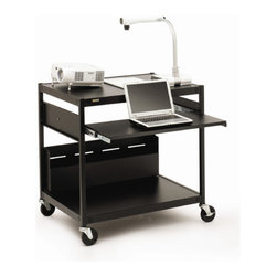 """Bretford - Projector / Laptop Presentation Cart with 4 Electrical Outlets - 33"""" H - ECILS15-BK has enough room for a data projector and presentation materials on the top shelf and a notebook computer with mouse on middle pull out shelf. Cart is constructed of steel and rolls easily on casters. The notebook computer shelf can be set at three seated heights at time of assembly. ECILS15FF-BK features a six-outlet electrical unit for powering all of your projector and computer equipment. Features: -Ideal for instructional use, large cart provides room for a data projector, speaker, notebook computer with mouse, DVD player, scanner, printer, and support materials.. -Top shelf is 33""""H and supports a data projector, or up to 24 flat panel monitor which sits on the top shelf.. -Pull-out notebook computer shelf is 29""""w x 13""""d, can be set to 25"""", 27"""" or 29"""" seated heights at time of assembly.. -Spacious cord management bin organizes all power and data wires.. -Heavy-duty 1"""" square tubular legs with W bracket shelf design for maximum strength.. -All-steel construction with die pressed shelves.. -ECILS15 series carts feature a steel content with 25% to 35% post-consumer recycled steel and are recyclable at the end of the product life cycle. ECILS15 series carts also comply with the GREENGUARD Environmental Institutes GREENGUARD Children & Schools Indoor Air Quality standards contributing to points toward Leadership in Energy and Environmental Design (LEED) Certification.. -4"""" Quiet-Glide stem casters, two are locking. Each caster is load rated to 115 lbs.. -ECILS15FF comes with an overload protected, 6-outlet electrical assembly with on/off switch and 20 grounded power cord.. -Available in environmentally friendly Black (-BK) powder paint finish.. -Made in the USA.. Specifications: -Overall : 32""""w x 24""""d x 33""""h. -Cord Bin: 4-1/2""""d x 10""""h x 30""""w. -Notebook Shelf: 29""""w x 13""""d, pulls out 13"""". -Seated Heights: 25"""", 27"""" or 29""""."""