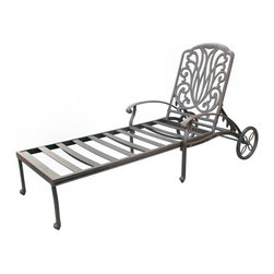 Darlee - Darlee Elisabeth Chaise Lounge Chair Multicolor - DL707-33/303 - Shop for Chaise Lounges from Hayneedle.com! Fit for a sun goddess the Darlee Elisabeth Chaise Lounge Chair offers a multi-position recline feature and graceful features. Place it poolside or on the patio; when needed the large back wheels make it mobile. This chaise lounge chair features a scalloped back and floral design made of premium cast aluminum. Its powder-coated antique bronze finish ensures lasting weather-resistant beauty. The neutral sesame fabric cushion is hinged and includes handy ties to keep it in place.About DarleeSince 1993 Darlee has developed a wide variety of products to help you create your ideal outdoor-living environment. Working with high-quality materials Darlee achieves a large spectrum of styles that covers a range of interests as well as aesthetic tastes. From classic to contemporary from conversation sets to dining sets to fire pits Darlee has you covered for outdoor entertaining. Because the company knows good business is built on trust and integrity Darlee focuses on reliable quality construction and remains committed to providing customers with the best service possible.