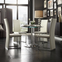 None - Caley Chrome/ White LED Round 5-piece Dining Set - The Caley Collection dining set features a contemporary design with a tempered glass table top surface that transitions. The table is lifted on a neutral chrome base that furthers the table's modern inventive design.