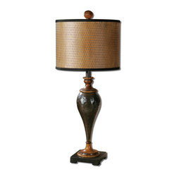 Uttermost - Javini Metal Table Lamp - Hammered metal in an oxidized, dark oil rubbed bronze finish accented with distressed burnished wood details. The woven hardback shade is finished in a rust wood tone with black trim.