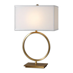 Uttermost - Duara Circle Table Lamp - Circle, meet square. This lamp's clean geometrical shape will please your eye if you love contemporary and hate clutter. It is hand-forged metal with a brushed plated brass finish that gleams and shines when you turn on the light.
