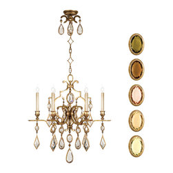 Fine Art Lamps - Encased Multi-colored Gems Chandelier, 729640-1ST - Like fine antique jewelry, this chandelier will surely dazzle. The classic six-arm shape is finished in variegated gold leaf and drips in clear or multicolored encased crystal gems. It's a brilliant way to add sparkle and polish to your room.